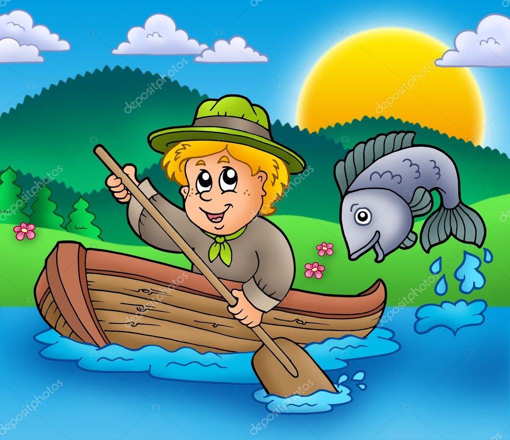 плыть по реке на рыбалку