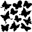Butterflies silhouette collection — Stock Vector