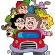 Happy family in car on vacation — Stockvectorbeeld