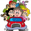 Stock Vector: Happy family in car on vacation