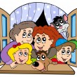 Vector de stock : Happy family in open window