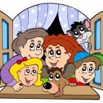 família feliz na janela aberta — Vetorial Stock