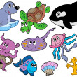 Marine fishes and animals collection — Stock Vector
