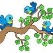 Three small birds sitting on branch - Stock Vector