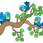 Three small birds sitting on branch — Stock Vector
