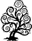 Stylized tree in bloom silhouette — Stock Vector
