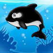 Stock Photo: Cartoon killer whale in sea