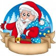 Stock Photo: Banner with Santa holding gifts