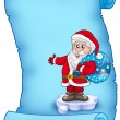 Blue parchment with Santa Claus 3 — Stock Photo