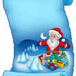 Blue parchment with Santa Claus 6 — Stock Photo
