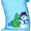 Blue parchment with snowman and tree — Stock Photo
