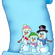 Royalty-Free Stock Photo: Blue parchment with snowman family