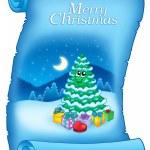 pergamino azul con árbol de Navidad Nevado — Foto de Stock