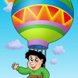 Boy in balloon on sky — Stock Photo