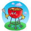 cartoon barbeque in garden — Stock Photo