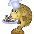Carp chef with earthworms — Stock Photo