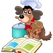 Cartoon dog chef with recipe book — Stock Photo