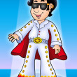 Cartoon Elvis impersonator on stage — Stock Photo