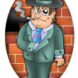 Cartoon gangster with wall — Stock Photo #2939994