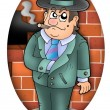 Cartoon gangster with wall — Stock Photo