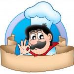 Cartoon chef logo with banner — Stock Photo #2939996