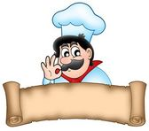 Banner with cartoon chef — Stock Photo
