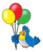 Bird with balloons — Stock Photo