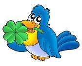Uccello con trifoglio a quattro foglie — Foto Stock