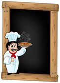 Blackboard with chef holding pizza — Stock Photo