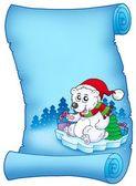 蓝色羊皮纸与圣诞熊 — 图库照片