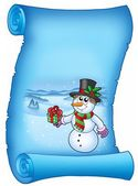 Blue parchment with Christmas snowman — Stock Photo