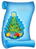 Blue parchment with Christmas tree — Stock Photo