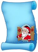 Blue parchment with Christmas window — Stock Photo