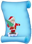 Blue parchment with Santa Claus 4 — Stock Photo