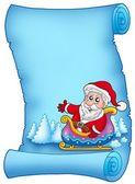 Blue parchment with Santa on sledge — Stock Photo