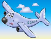 Cartoon airplane on blue sky — Stock Photo