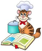 Cartoon cat chef with recipe book — Stock Photo