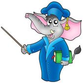 Cartoon elephant teacher — Stock Photo