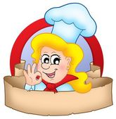 Cartoon chef woman logo with banner — Stock Photo