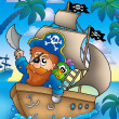 Cartoon pirate sailing on ship — Stock Photo