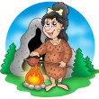 Cartoon prehistoric woman before cave — Stock Photo
