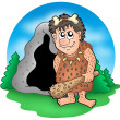 Royalty-Free Stock Photo: Cartoon prehistoric man before cave