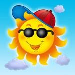 Cartoon Sun in cap on blue sky — Stock Photo