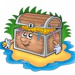 Cartoon treasure chest on island — Stock Photo #2940052