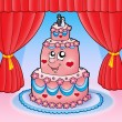 Cartoon wedding cake with curtains - Stock Photo