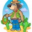 Stock Photo: Cowboy dog with lasso in desert