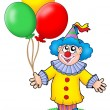 Cute clown with balloons — Stock Photo