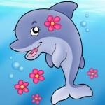 Cute dolphin girl in sea — Stock Photo