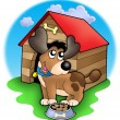 Cute dog in front of kennel — Stock Photo