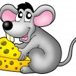 Cute mouse holding cheese — Stock Photo #2940242